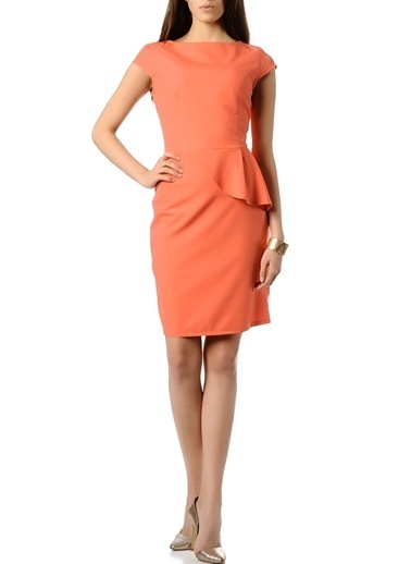 Limon Company Volanlı Kalem Elbise Oranj